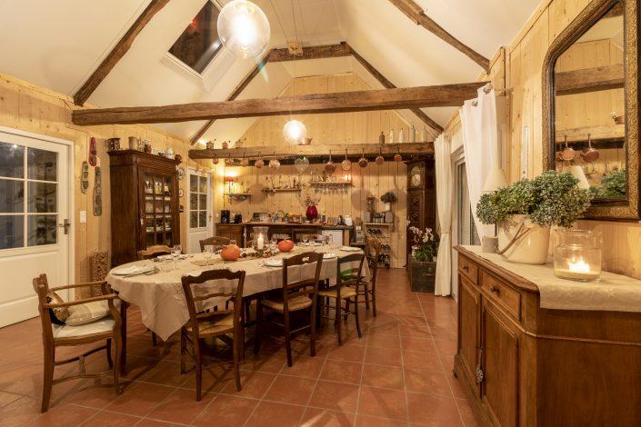 La salle à manger de la table d'Hôtes Kerburu